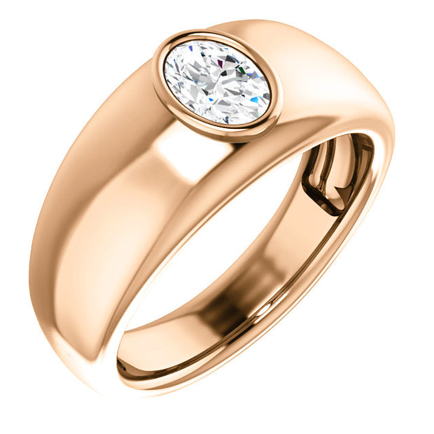 Men's Oval Cut Diamond Ring Bezel Set rose gold