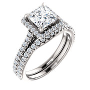 1.70 ct. Halo Princess Cut Diamond Engagement Ring F Color VS1 GIA certified