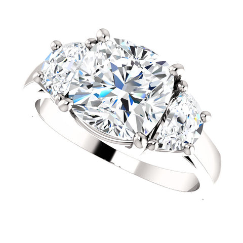 5.00 Ct. 3-stone Cushion Cut & Half Moons Diamond Ring J Color VS2 GIA Certified