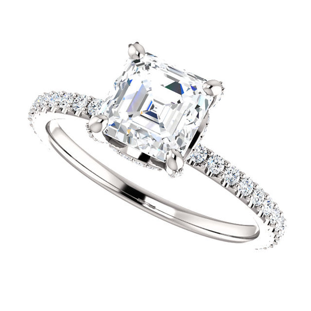 3.10 Ct. Under halo Asscher Cut Diamond Ring w Matching Band G VS1 GIA Certified