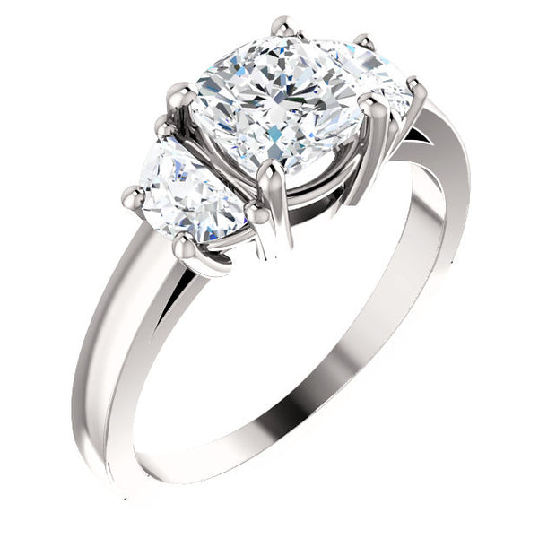 1.40 Ct. Cushion Cut w Half moon Diamonds Three Stone Ring F Color VVS1 GIA Certified