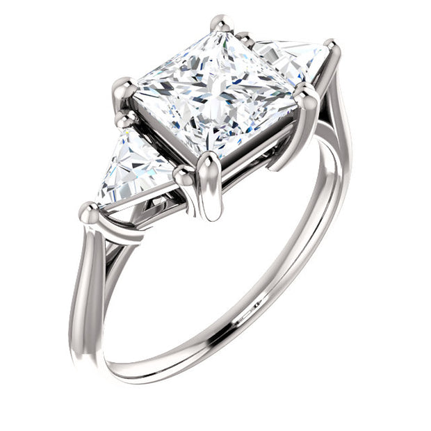 2.20 Ct.  Princess Cut w Trillion Cut 3 Stone Diamond Ring H Color VS1 GIA Certified