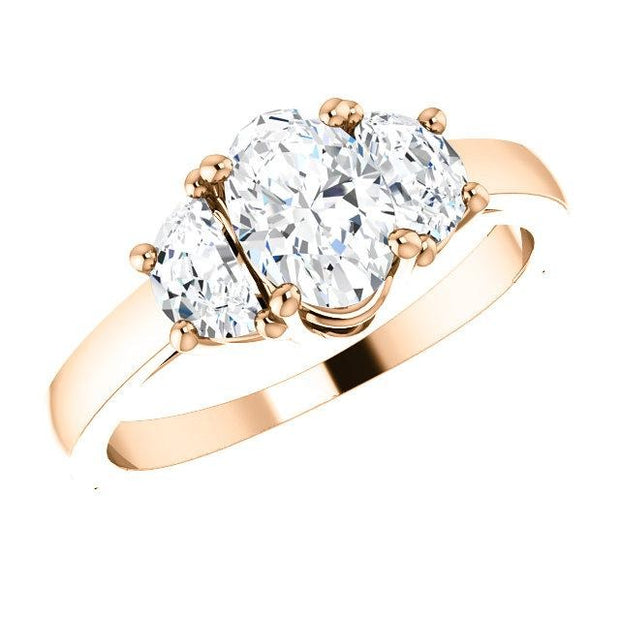 1.40 Ct. Oval Cut w Half Moons 3 Stone Diamond Ring H Color VS1 Clarity GIA Certified