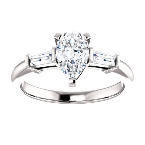 1.20 Ct. Pear Cut & Baguette Cut Three Stone Diamond Ring G, VS2 GIA Certified