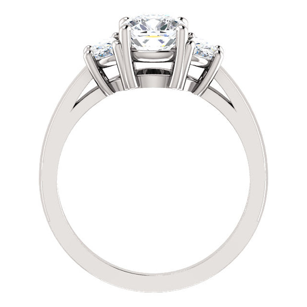 1.70 Ct. 3 stone Cushion Cut & half moons Diamond Engagement Ring F, VS1 GIA Certified