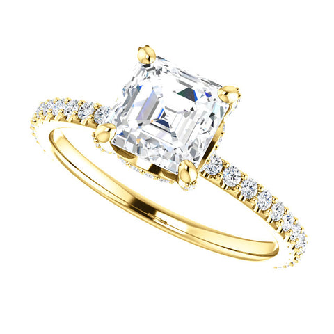2.10 Ct. Under Halo Asscher Cut Diamond Ring w Matching Band F VS2 GIA Certified