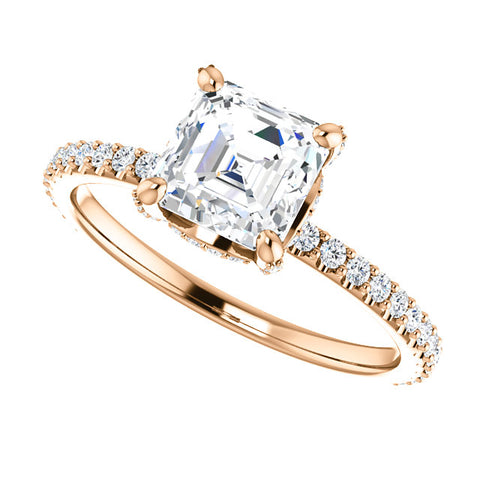 2.80 Ct. Under Halo Asscher Cut Diamond Ring w Matching Band F VS1 GIA Certified