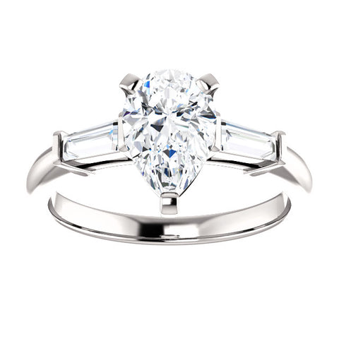 1.80 Ct. Pear Cut & Baguette Cut Three Stone Diamond Ring J Color VS1 GIA Certified