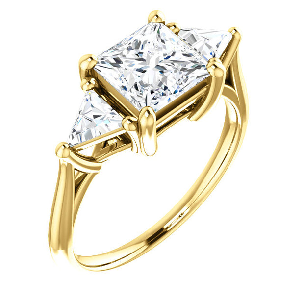 2.60 Ct. 3 Stone Princess Cut w Trillion Cut Diamond Ring G Color VS2 GIA Certified