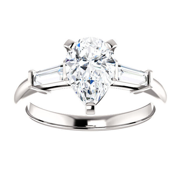 2.00 Ct. Pear Cut & Baguette Cut Three Stone Diamond Ring H VS1 GIA Certified