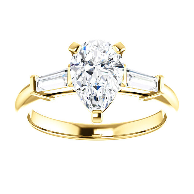 1.80 Ct. Pear Cut & Baguette Cut Three Stone Diamond Ring H VS1 GIA Certified