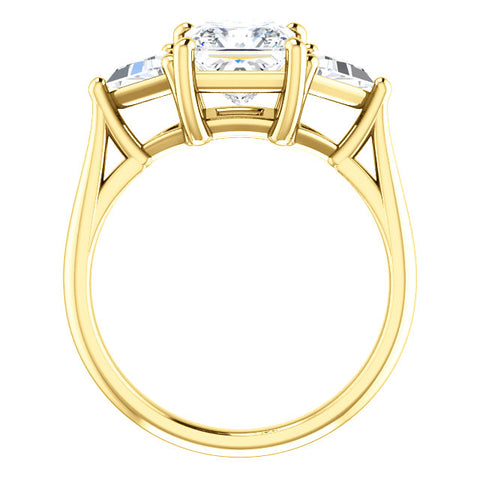 2.30 Ct. 3 Stone Princess Cut w Trillion Cut Diamond Ring G Color VS2 GIA Certified