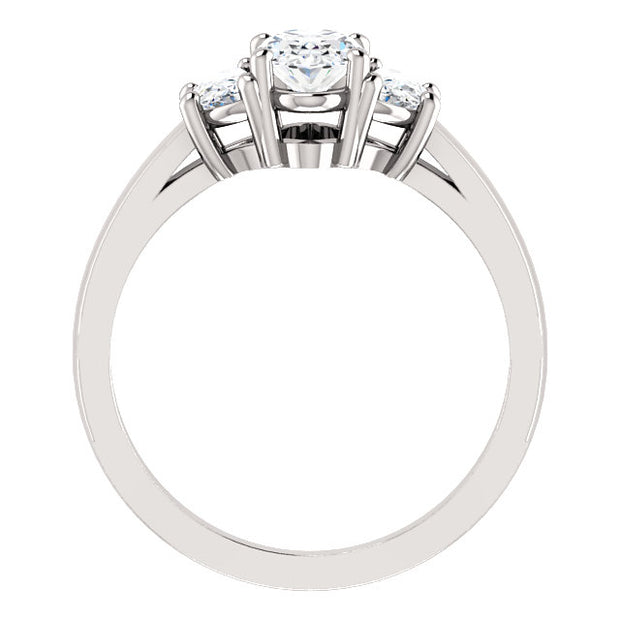 1.60 Ct. Oval Cut w Half Moons 3 Stone Diamond Ring F Color VS2 Clarity GIA Certified