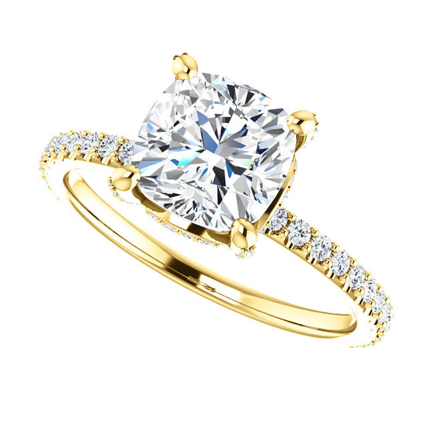 3.40 Ct. Under Halo Cushion Cut Diamond Ring w Matching Band I VS2 GIA Certified