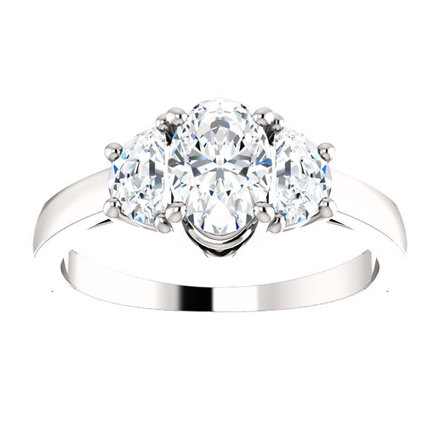 1.40 Ct. Oval Cut 3 Stone Diamond Ring H Color VS1 Clarity GIA Certified