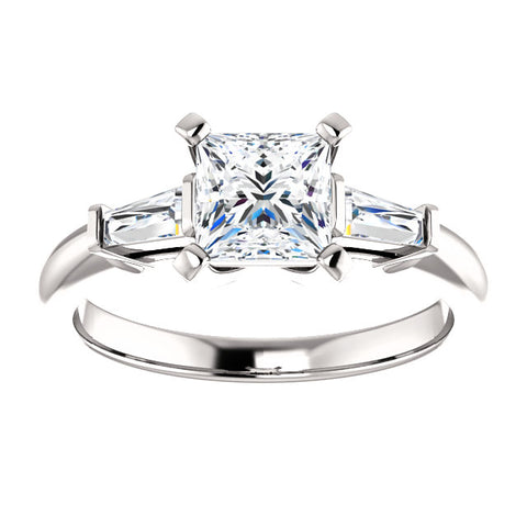 1.00 Ct. Princess Cut w Baguettes 3 Stone Diamond Ring F Color VVS2 GIA Certified