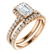 Halo Emerald Cut Diamond Engagement Set  rose gold