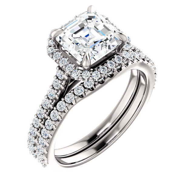 3.10 Ct. Halo Asscher Cut Diamond Ring w Matching Band G Color VS1 GIA Certified