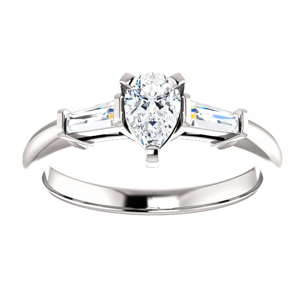1.00 Ct. Pear Cut w Baguttes 3 Stone Diamond Ring G, VS1 GIA Certified