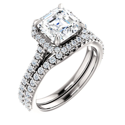 3.0 Ct. Halo Asscher Cut Diamond Engagement Ring Set H Color VS1 GIA Certified