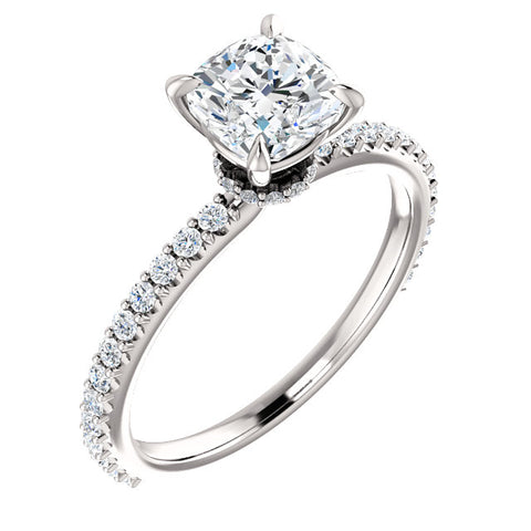 1.70 Ct. Galaxy Cushion Cut Diamond Engagement Ring F Color VS1 GIA Certified