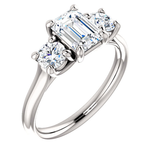 1.50 Ct. 3 Stone Emerald Cut w Rounds Diamond Engagement Ring E VS2 GIA Certfied