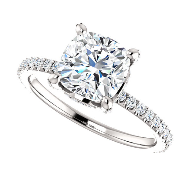 2.90 Ct. Under Halo Cushion Cut Diamond Ring w Matching Band G VS1 GIA