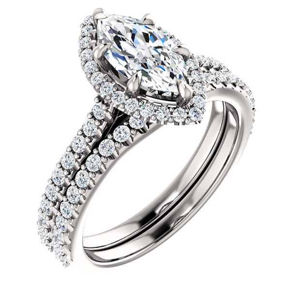 2.10 Ct. Halo Marquise Cut Diamond Ring w Matching Band F Color SI1 GIA Certified