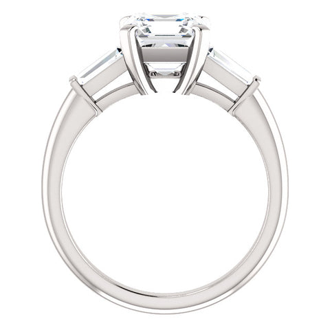 2.55 Ct. Asscher Cut w Baguettes Three Stone Diamond  Ring G Color VS1 GIA Certified