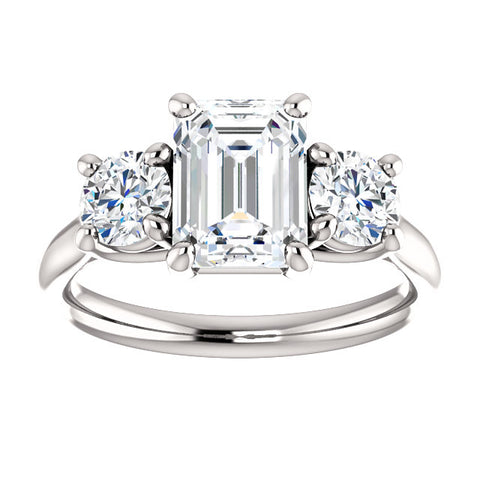 2.10 Ct. 3 Stone Emerald Cut & Rounds Diamond Ring H Color VS1 GIA Certified