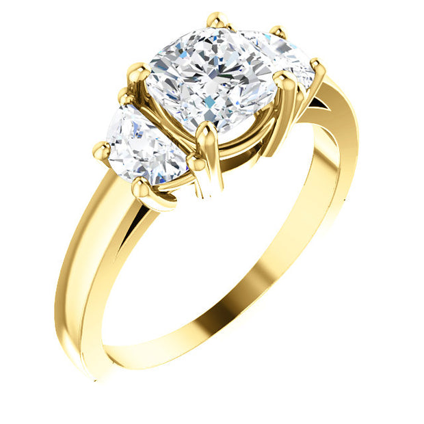 1.80 Ct. 3-Stone Cushion Cut & Half moons Diamond Engagement Ring E, VS1 GIA Certified