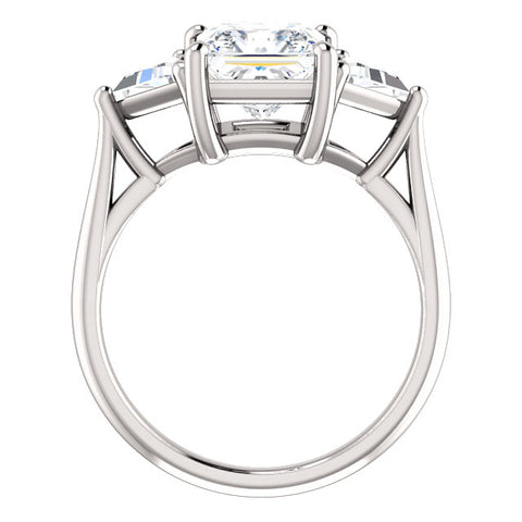 2.80 Ct. Three Stone Princess Cut w Trillions Diamond Ring G Color VS2 GIA Certified
