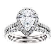 2.50 Ct. Halo Teardrop Pear Cut Diamond Engagement Set F Color Si1 GIA Certified
