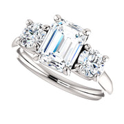2.70 Ct. 3 Stone Emerald Cut & Round Diamond Engagement Ring I VS1 GIA Certified