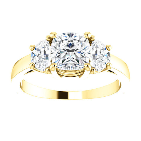 2.70 Ct. Cushion Cut & Half Moons 3-stone Diamond Ring G Color VVS2 GIA Certified