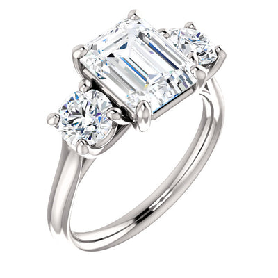 2.70 Ct. 3 Stone Emerald Cut & Round Diamond Engagement Ring I Color VS1 GIA Certified