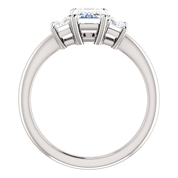 3 Stone Emerald Cut Diamond Engagement Ring side view