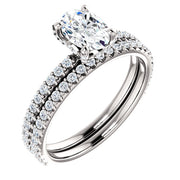 2.80 Ct. Oval Cut Hidden Halo Diamond Ring Set H Color VS2 Clarity GIA Certified