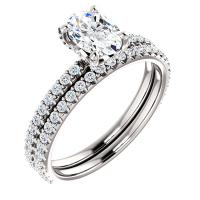 1.90 Ct. Oval Cut Hidden Halo Diamond Ring Set D Color VS1 Clarity GIA Certified