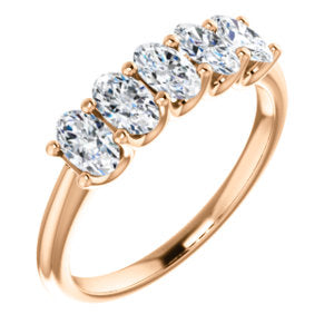 5 Stone Oval Diamond Ring rose gold