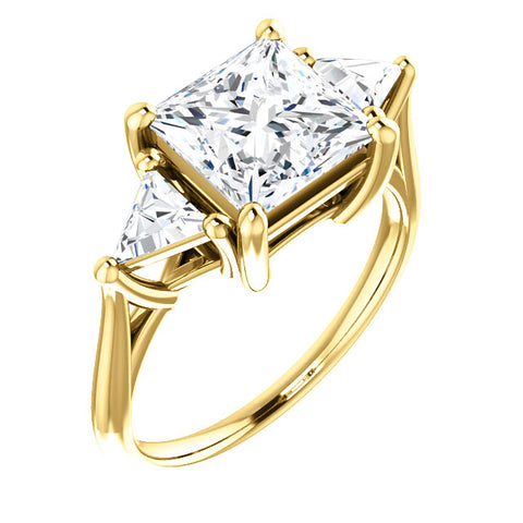 3.30 Ct. Three Stone Princess Cut w Trillions Diamond Ring I Color SI1 GIA Certified