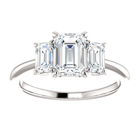 2.10 Ct. Three Stone Emerald Cut Diamond Engagement Ring H Color VVS1 GIA Certified