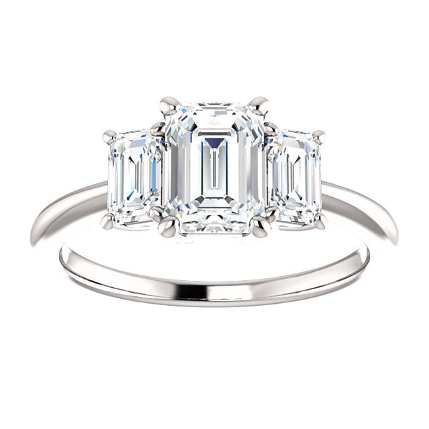 2.10 Ct. Three Stone Emerald Cut Diamond Engagement Ring H VVS1 GIA Certified