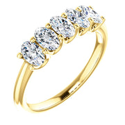 5 Stone Oval Diamond Ring yellow gold
