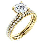 3.10 Ct. Round Cut Hidden Halo Diamond Engagement Ring Set G Color VS2 Clarity GIA Certified