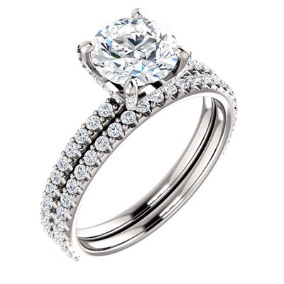 3.10 Ct. Round Cut Hidden Halo Diamond Engagement Ring Set I Color VS2 Clarity GIA Certified