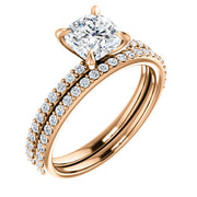 1.70 Ct. Clasico Cushion Cut Diamond Engagement Set D VS2 GIA Certified