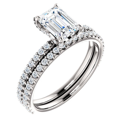 2.20 Ct. Emerald Cut Under Halo Diamond Ring Set H VVS2 GIA Certified