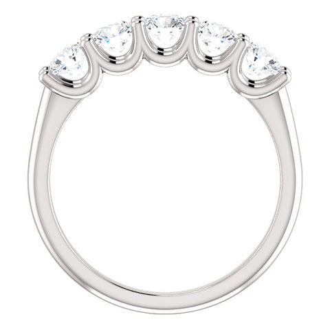 1.00 Ct. Round Cut 5 Stone Diamond Ring Band G Color SI1 Clarity