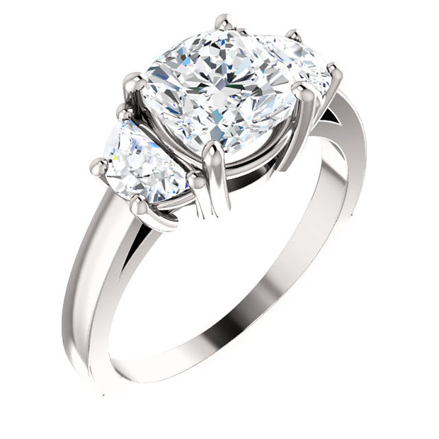 2.10 Ct.  Cushion Cut & Half Moon 3 Stone Diamond Ring H Color VS1 GIA Certified
